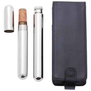 Maxam 2oz Stainless Steel Flask With Cigar Holder- Cigar Tube