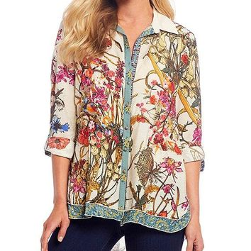 Floral Print Button Front Woven Crinkle Embroidery Hi-Low Hem Blouse