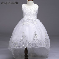 Retail 5 color 2017 New Arrival Summer Baby Girls Dress Wedding Dress White After Short Before Long Lace Cute Dress L8804