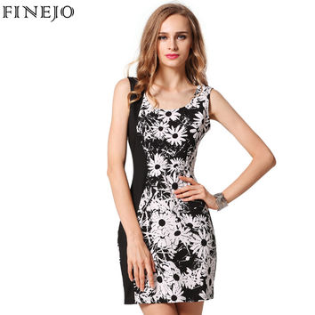 3D Flora Print Bodycon Women Dress O-Neck Sleeveless Tank Dresses Mini Pencil