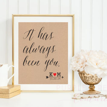 It Has Always Been You Romantic Wedding Sign Decoration Decor Personalized Anniversary Gift Love