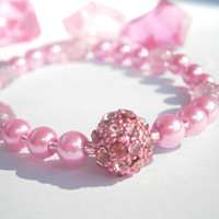 Pink Stretch Bracelet - Czech Glass Jewelry - Beaded Bracelets - Rhinestone Jewellery - Elastic Bracelet - Shamballa Bead - Pastel Jewelry