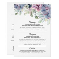Elegant Succulent Florals Wedding Information Card