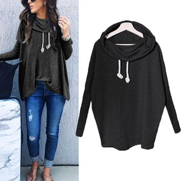 Women Ladies Fashion Autumn Long Sleeve Hooded Baggy Pullover Sweatshirt Blouse Ladies Casual Plain Top Sweats Hoodie Shirt