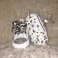 baby first star bling converse w hand painted leopard print