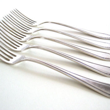 1930s silver plated Art Deco dessert fork set - Set of five dessert forks - Silver plated flatware - Art Deco flatware - Pre-war silverware