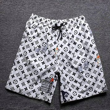 White LV LOUIS VUITTON Beach Shorts Fashion Casual Summer Wear Holiday Vacation