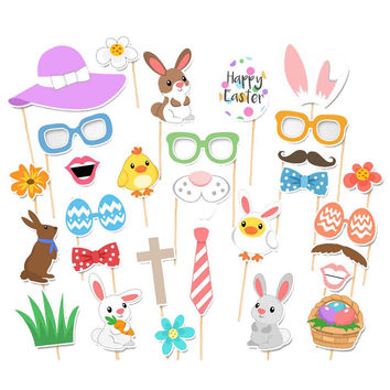 29PCS Photo Booth Props Fun Easter Mask DIY Eggs Bunny Ears On A Stick Photobooth Kids Party Decoration Centerpieces