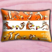 "Calvin and Hobbes Comic Pillow Cover, Pillow case, Throw Bed Bedroom, Size 30"" x 20"""