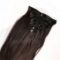 "24"" Medium Brown Hair Extension, Clip on Extension, Full Head, Clip in Extensions, Thick Hair, Long Hair, Brown Hair, 8 Piece Set, Volume"