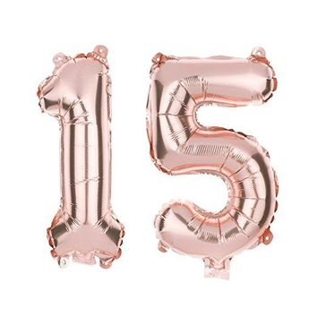 15 Number Balloons - 40 Inch Rose Gold