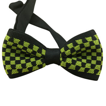 Grass Green Checkered Knit Bow Tie