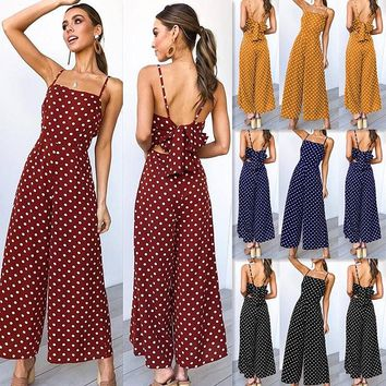 2019 summer new wave point tie casual jumpsuit women's clothing