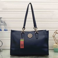 One-nice™ Tory Burch Women Leather Flower Print Shopping Tote Handbag Shoulder Bag Sapphire blue I-MYJSY-BB