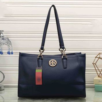 Day-First™ Tory Burch Women Leather Flower Print Shopping Tote Handbag Shoulder Bag Sapphire blue I-MYJSY-BB