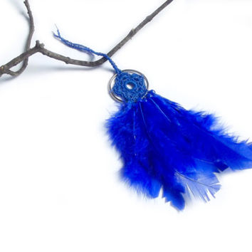 Cobalt Blue Dream Catcher Blue Dreamcatcher Blue Feather Dream Catcher Wall Hanging Crochet Dream Catcher Crochet Flower Small Dream Catcher
