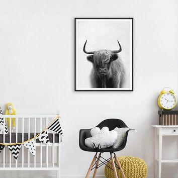 Farm Animal Cow Canvas Art Painting and Poster , Buffalo Photography Canvas prints Wall Picture Living Room Wall Art Decoration
