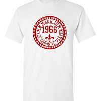 Made in 1966 All Original Parts Tshirt. 49th Birthday Shirt.  Funny Birthday Tshirts. Ladies and Mens Unisex Styles. Makes A Great Gift.