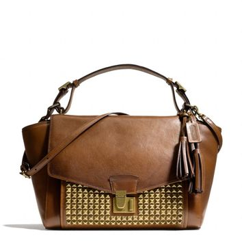 Coach :: New Legacy Archival Lock Satchel In Studded Leather