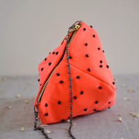 The strawberry ball Purse -neon orange pink purse with black bead