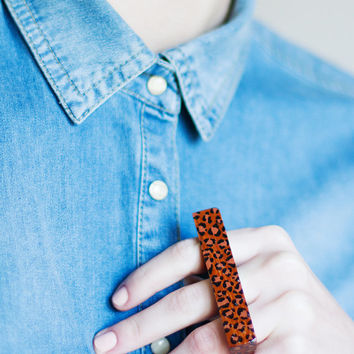 leopard 3 finger ring
