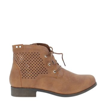 Laser Cut Shimmer Ankle Boot (TAN)