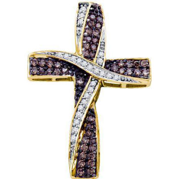 Cognac Diamond Ladies Cross Pendant in 10k Gold 0.57 ctw