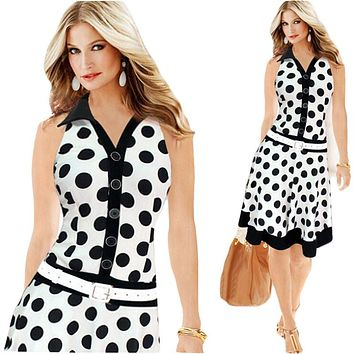 Summer Style Women Dress Plus Size Dresses 2015 New Exoplosion Models Polka Dot Printing Sleeveless Dress Vestido Mujer C145