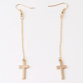 Long silver gold cross chain drop earrings