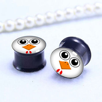 chicken-face  ear Plug  ,pricing body jewerly , Screw on Gauge ear plugs , Black Titanium ear plugs ,
