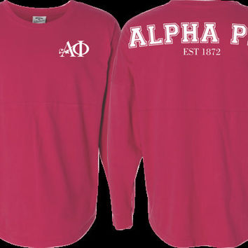 Alpha Phi Sorority Jersey in Wildberry - Alpha Phi Jersey - Alpha Phi Spirit wear - Alpha Phi apparel - Alpha Phi clothing