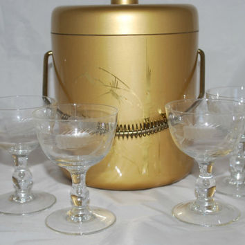 Cut Glass Champagne Coupe with Ice Buckets , Mid Century Modern Bar Set , Wedding Glasses