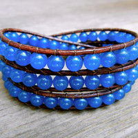 Beaded Leather Wrap Bracelet 3 Wrap with Malay Blue Jade Beads on Genuine Brown Leather