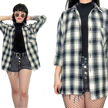 vintage 90s plaid shirt soft grunge button up slouchy shirt top black ivory white Seattle grunge flannel medium
