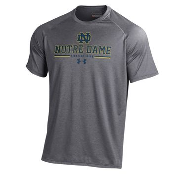 Under Armour Men's Notre Dame Fighting Irish Grey On Field Football Tech Performance T-Shirt