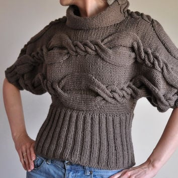 Hand Knit Cable Sweater Designer Unique T-sweater kimono turtleneck fall winter sweater taupe or CHOOSE YOUR COLOR - From Classic To Modern