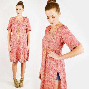 vintage 90s pink FLORAL TUNIC dress / pink floral print dress / pink floral dress / india tunic dress / india kurta / festival dress / s m
