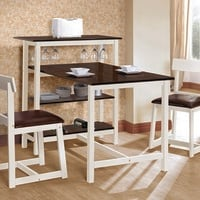 3 pc Halle collection white and espresso finish wood counter height bar and dinette table set with vinyl seats