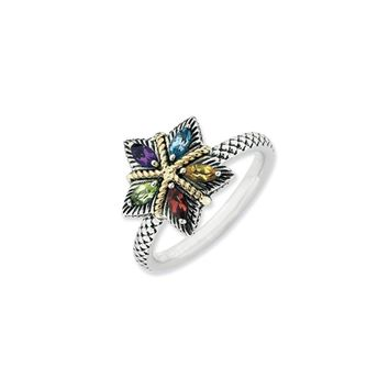 Sterling Silver, 14k Gold Accent & Multi-Gem Stackable Star Ring