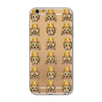 Facebook Monkey Crown Emoji Collage Painted Soft TPU Silicon Cases CoverCase For Apple iPhone 4 4S 5 5S SE 5C 6 6S 6 Plus 6S Plus