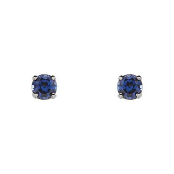 Kids 14k White Gold 3mm Created Blue Sapphire Threaded Post Earrings