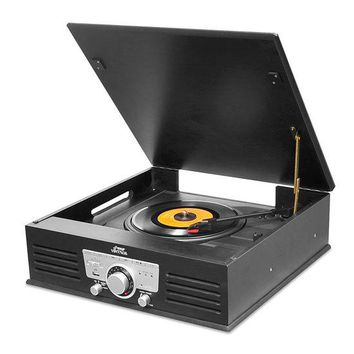 Bluetooth Classic Vintage Style Record Player Turntable Phonograph with Vinyl to MP3 Recording, USB/SD Card Readers, AM/FM Radio, Aux (3.5mm) Input, Built-in Speakers & Rechargeable Battery