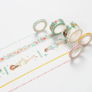 Infeel Mint Girl washi tape DIY decorative scrapbooking planner masking label sticker stationery school supplies