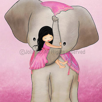 "Kids room art, girl on elephant, pink , from 7""x9"" up to 12""x15"""