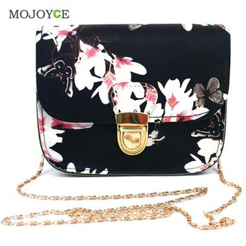 Floral Print Women PU Leather Handbags Long Chains Shoulder Crossbody Bag for Women Small Tote Messenger Bags Bolsa Feminina Hot