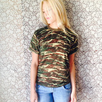 Grunge Tee/Camo Army Shirt/Army t-Shirt/ Top/Brigade Top/Vintage Army Top/Camouflauge Top/Grunge Shirt/Khaki Top/90's Tee/Military/S