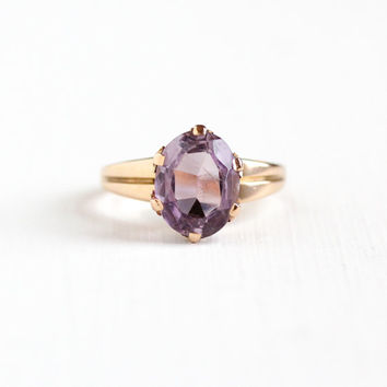 Antique Victorian 10k Rose Gold Rose de France Amethyst Ring - 1800s Size 6 Large Light Purple Oval 2+ Carat Gemstone Fine Jewelry
