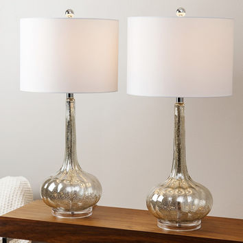 Abbyson Mercury Antiqued Glass Table Lamp (Set of 2)