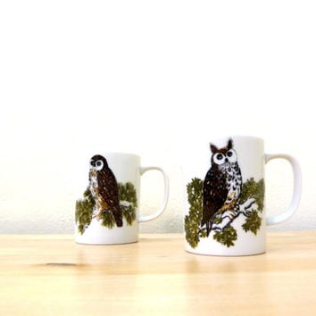 Vintage Owl Mugs / Fitz and Floyd Mug / Owl Coffee Cups / Small Ceramic Mugs / Brown Owl Mugs