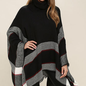 Sled Ride Red and Black Plaid Poncho